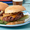Classic Cheeseburgers with Grilled Romaine and Onions