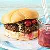 Peppercorn-Blue Cheese Burger with Tangy Cherry Compote