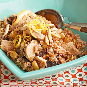Tunisian Dried Fruit, Chicken and Bulgur Pilaf
