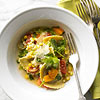 Mushroom Agnolotti with Corn, Tomatoes, and Arugula Pan Sauce