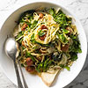 Linguine with Sausage, Greens, and Egg Pan Sauce