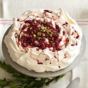 Pomegranate Pavlova with Pistachios and Honey