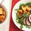 Skillet-Roasted Potatoes with Pork & Wilted Arugula