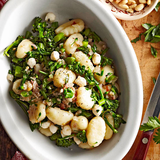 Gnocchi with Mozzarella, Broccolini, and Warm Anchovy Sauce