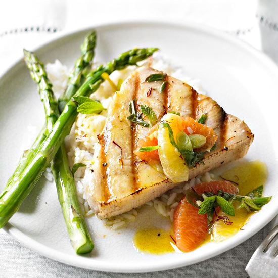 Grilled swordfish with citrus saffron and mint for Sword fish recipes