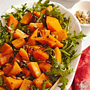 Roasted Pumpkin, Arugula, and Dried Cherry Salad