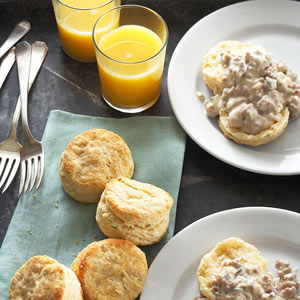 Cornmeal-Sage Biscuits and Sausage Gravy