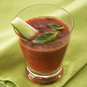 Chilled Spicy Tomato and Basil Bloody Marys