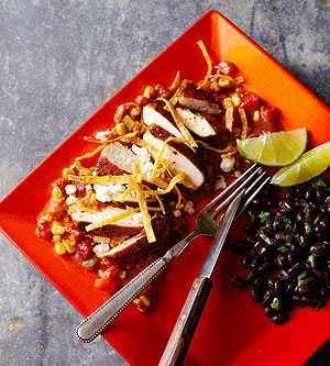 Tortilla-Crusted Chicken with Stewed Tomatoes and Corn