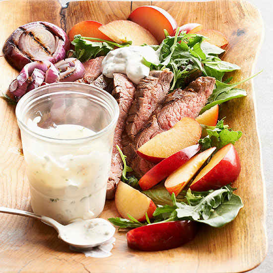 Flank Steak and Plum Salad with Creamy Chimichurri Dressing