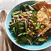 Spinach Salad with Indian-Spiced Garbanzos, Apricots & Onions