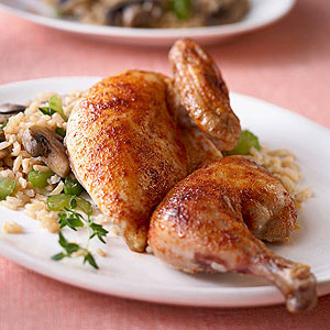 Cornish Game Hens with Quick Rice Pilaf