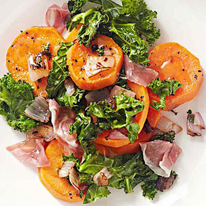 Sweet Potatoes with Honey, Prosciutto, and Kale