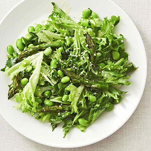 Asparagus, Frisee, Edamame, and Parsley Salad