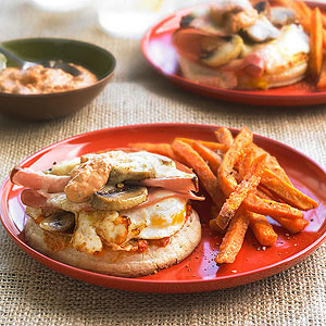 Fried Egg and Mushroom Sandwiches with Mortadella