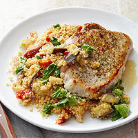 Greek-Seasoned Pork with Lemon Couscous (299 calories)