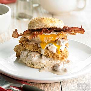 Hearty Breakfast Biscuit Stacks