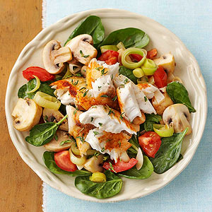 Wilted Spinach and Tilapia Salad
