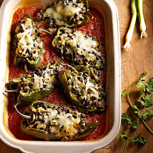 Poblanos Stuffed with Black Beans