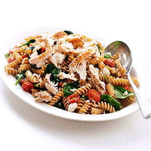Whole Grain Rotini with Tomato, Feta, and Spinach