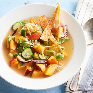 Quinoa-Nectarine Gazpacho with Crispy Spiced Tortilla Strips