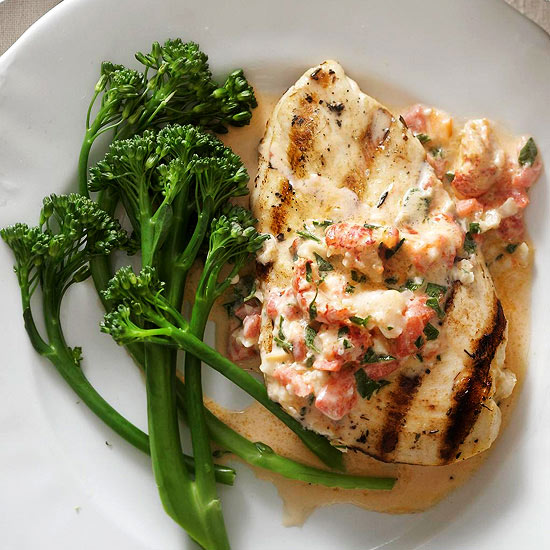 Grilled chicken with cajun crawfish cream sauce Better homes and gardens recipes from last night