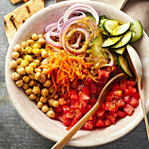 Indian Garbanzo Bean Salad with Pitas