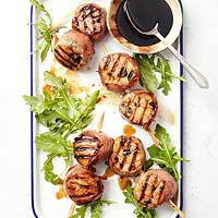 Grilled Herb Scallops with Balsamic Syrup