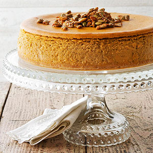 Pumpkin Spice Cheesecake with Sugared Pepitas