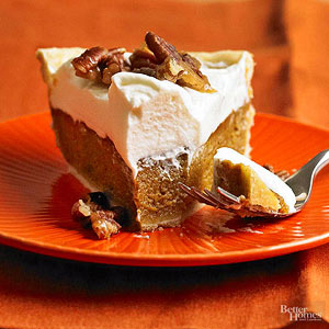 Pumpkin Mascarpone Pie with Candied Pecans
