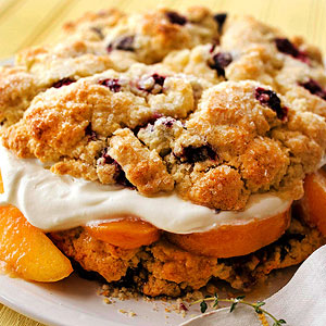 Blueberry Sugar Shortcake with Warm Peach Compote