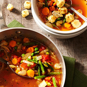 Garden Soup with Toasted Cheese Croutons
