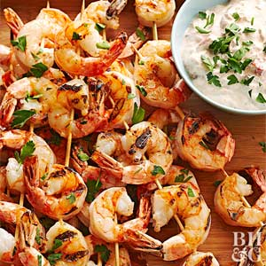 Grilled Shrimp with Red Pepper Dip