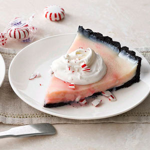Peppermint Cream Tart in a Chocolate Crust