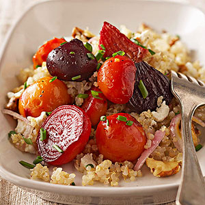 Quinoa with Roasted Beets and Chive Vinaigrette