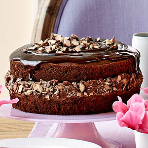Triple Chocolate Cake with Malted Crunch