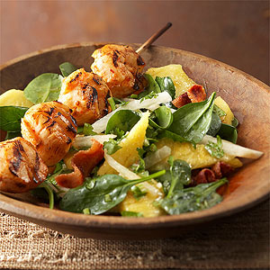 Piri Piri Scallops with Spinach-Pineapple Salad