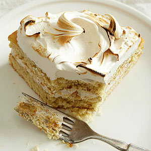 Spice Cake with Brown Sugar Meringue Frosting
