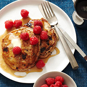 Banana Pancakes with Chocolate Bits and Raspberries