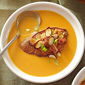 Maple-Kissed Cream of Sweet Potato Soup with Bacon-Cheddar Crostini