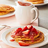 Grain Pancakes with Strawberry-Rhubarb Sauce