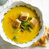 Creamy Carrot and Millet Soup with Grilled Cheese Croutons
