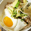 Oatmeal with Sunny-Side-Up Eggs, Avocado, Cheddar & Chives
