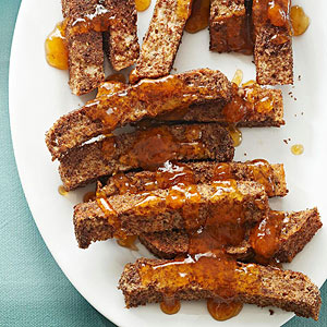 Baked French Toast Strips with Apricot Dipping Sauce