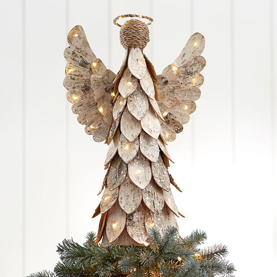 this angel tree topper exudes rustic and classic all in one the beautiful wings and feathering details will add dimension and texture atop your shining - Christmas Tree Topper