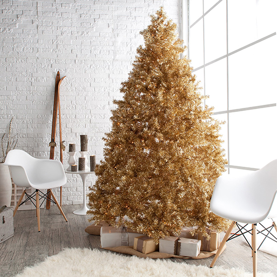 if youre looking for a trendy tree that will accent your modern and chic style this champagne gold tree is the perfect pick for you - Real Looking Christmas Tree