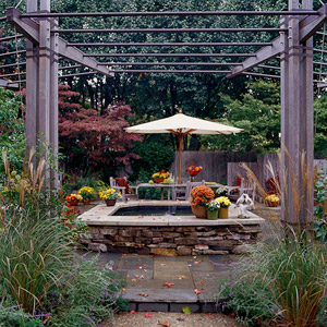 Patio Tour: Outdoor Room with Fire Pit, Fountain, and Arbor