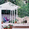 White Pergola with Hanging Seats