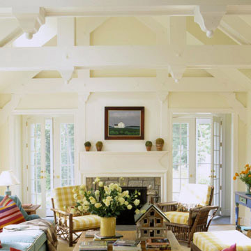 Lighten a Living Room's Heavy Beams with Paint