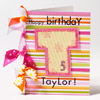 Pink Striped Birthday Card